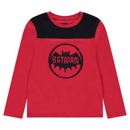 Júnior - Camiseta de manga larga con logo ©Warner Batman con lentejuelas negras