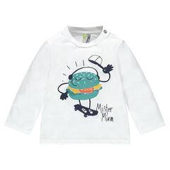 Camiseta de punto de manga larga con hamburguesa estampada