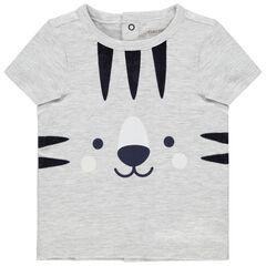 Camiseta de manga corta gris jaspeado con estampado de tigre