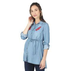 Camisa larga premamá de Tencel con flores bordadas