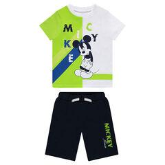 Conjunto de camiseta de manga corta con estampado Mickey y bermudas