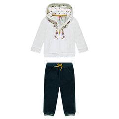 Jogging bicolor de pana de terciopelo con flores bordadas