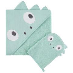 set de baño con capa à capucha integrada y gant estampado dinosenre