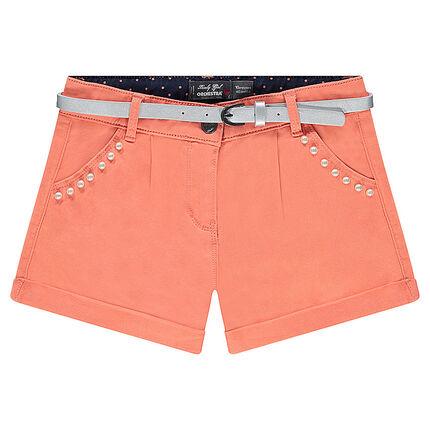 af177fa87 Júnior - Pantalón corto liso con piedrecitas de fantasía y cinturón  extraíble