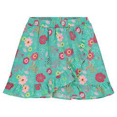 Falda-pantalón con estampado de flores all over con solapas cruzadas