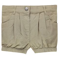 Pantalón corto liso de tela de algodón
