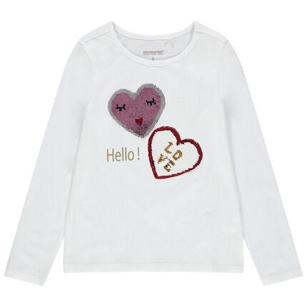 Camiseta de manga larga de algodón ecológico con dibujo de fantasía de lentejuelas mágicas