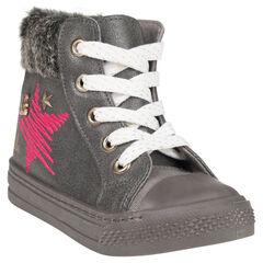 Zapatillas de deporte de caña alta cierre de cremallera y con cordones de pelo sintético