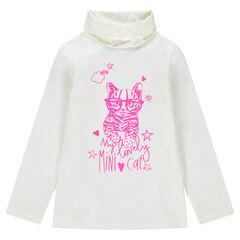 Camiseta interior con cuello vuelto con gato rosa estampado