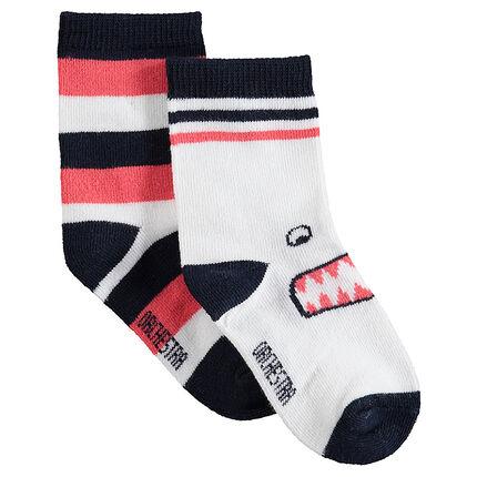 Juego de 2 pares de calcetines variados con rayas y monstruo de jacquard