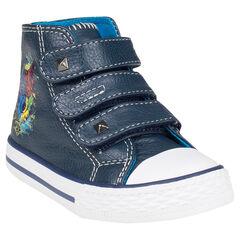 Zapatillas de deporte de caña alta de aspecto cuero estampado fantasía