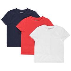 lote de 3 camisetas lisos en algodon bio