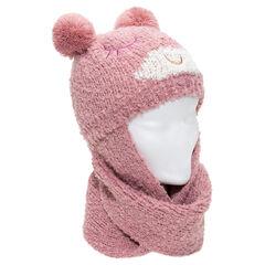 Gorro con bufanda rosa y orejas con forma de pompones