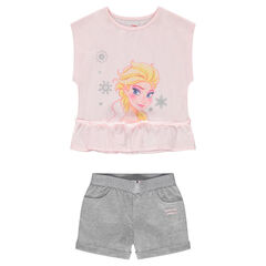 Conjunto con camiseta con forma cuadrada ©Disney estampado Frozen con pantalón corto de punto