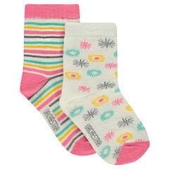 Juego de 2 pares de calcetines a rayas/con estampado all-over