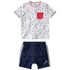 Conjunto de camiseta con estampado de Mickey Disney y pantalón corto de felpa con bandas que contrastan