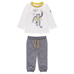 Conjunto de camiseta con estampado de robot y pantalón de felpa asargado