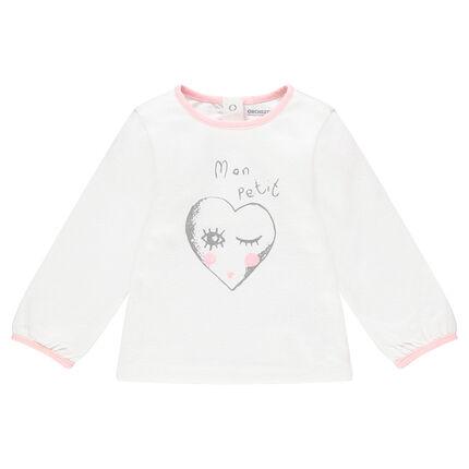 Camiseta de manga larga de punto con corazón estampado