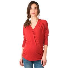 Camiseta de premamá de manga larga y cuello en V