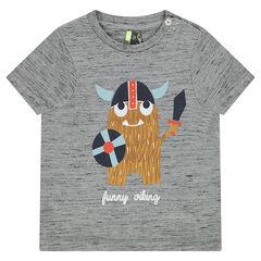 Camiseta de punto de manga corta con vikingo estampado