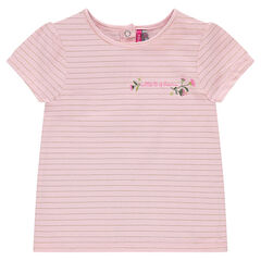 Tee-shirt manches courtes à fines rayures dorées et broderie