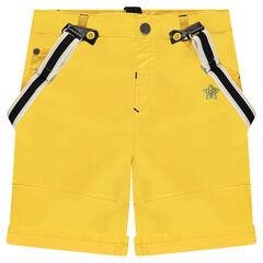 Bermudas amarillas con tirantes extraíbles y bordados ©Disney Mickey