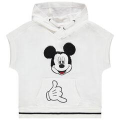 Sudadera de felpa con capucha mangas cortas print Mickey en lentejuelas
