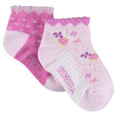 Juego de 2 pares de calcetines variados con acanalado de fantasía