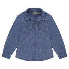 Camisa de manga larga de algodón con bolsillos