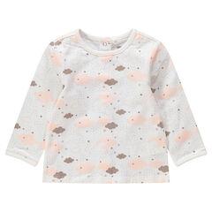 Camiseta de manga larga de punto con estampado de nubes all-over