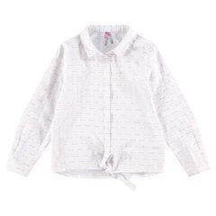 Júnior - Camisa de manga larga de rayas finas y cordones