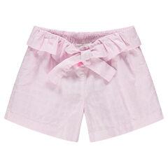 Pantalón corto de algodón con dibujo del mismo color y cinturón con volantes