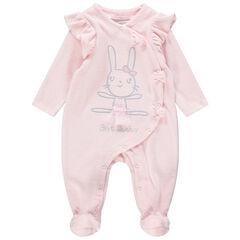 Pijama de terciopelo rosa con conejo bordado y lazos