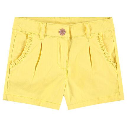 Pantalón corto de algodón con volantes en los bolsillos