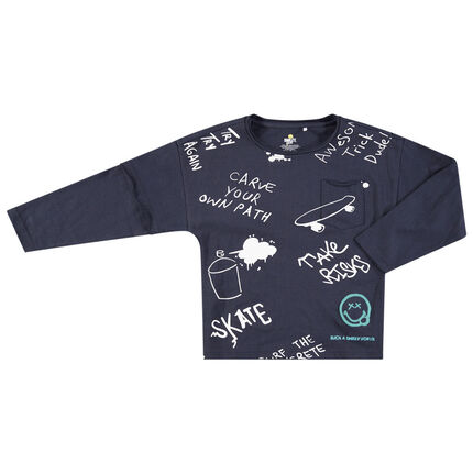 Camiseta de manga larga de punto con mensaje y Smiley estampados