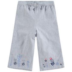 Pantalón amplio con dibujos florales bordados