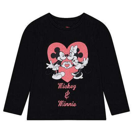 Camiseta de manga larga de punto ©Disney con estampado de Mickey y Minnie