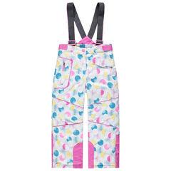 Pantalón de esquí de lunares de colores con tirantes desmontables y bolsillos