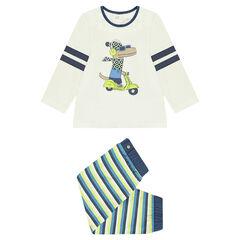 Pijama de punto con estampado de dinosaurio y pantalón de rayas