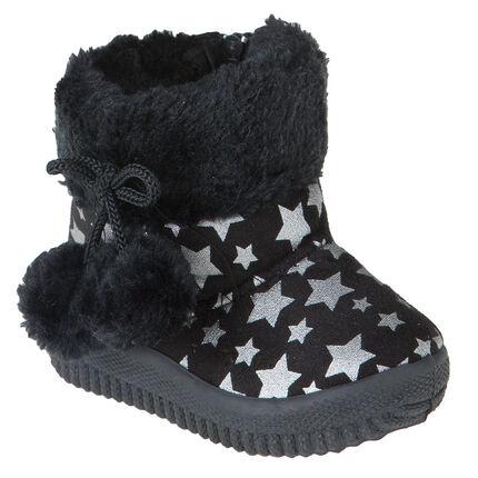 Zapatillas de forma botín de pelo sintético con pompones con estampado de estrella