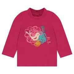 Camiseta con cuello chimenea y estampado de fantasía