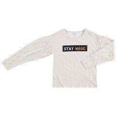 Júnior - Camiseta de manga larga con finas rayas y mensaje estampado