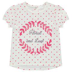 Camiseta de manga corta con lunares estampados all-over y dibujo por delante