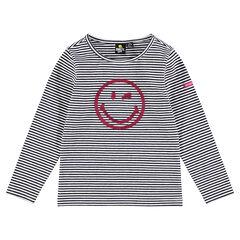 Camiseta interior de punto de rayas con ©Smiley de lentejuelas