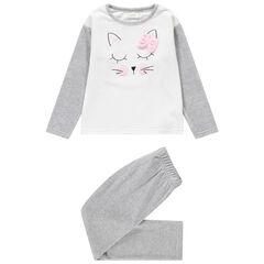 Pijama de terciopelo con gato bordado y lazo