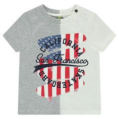 Camiseta de manga corta de punto de dos colores con estampado de skatebords