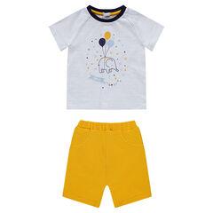 Conjunto de camiseta de rayas con estampado de elefante y bermudas de punto