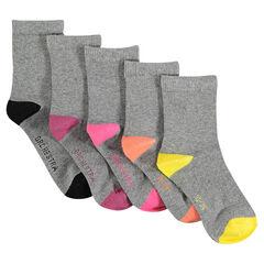 Lote de 5 pares de calcetines de color liso punta y talón en contraste
