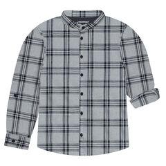 Camisa de manga larga de cuadros con cuello mao