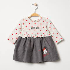 Vestido de manga larga con efecto 2 en 1 y lunares con estampados Mickey Disney